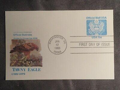 Tawny Eagle - SCOTT US #UZ2 1983 TAWNY EAGLE FDC FLEETWOOD POSTCARD