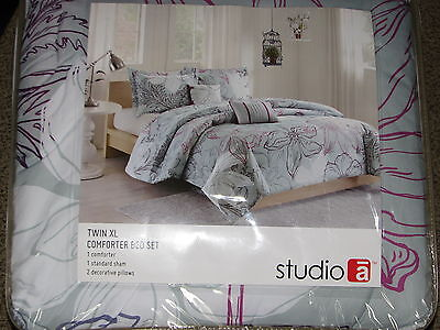 NEW Twin XL Comforter Set w/ Sham 2 Pillows Gray White Flora