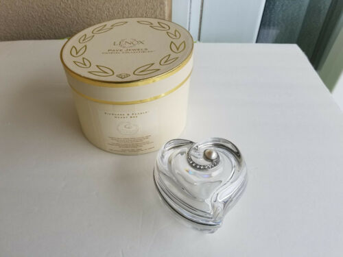 LENOX Pave Jewels Crystal Collectibles Diamonds & Pearls Heart Box in Gift Box