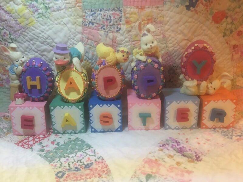 Happy Easter Bunnies Blocks Set Shelf Table Decorations