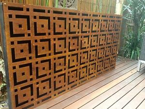 Metal laser cut rust Oriental feature wall panel privacy screen Malvern Stonnington Area Preview