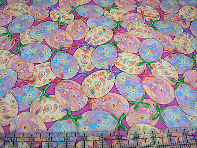 3 Yards Cotton Fabric - QT Fabrics Turnowsky Happy Easter Fancy Eggs Packed -