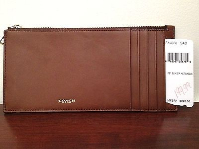 SALE! NWT Coach Glove Tanned Slim Leather Zip Wallet Mens Womens 74828 Saddle