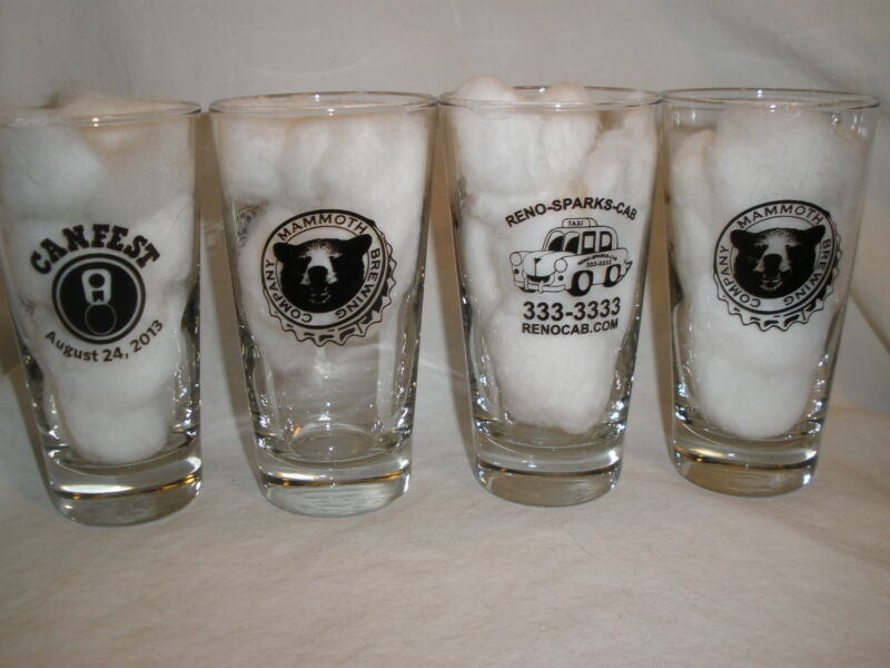MAMMOTH BREWING CO. BEER AUGUST 24, 2013 CANFEST 6 OZ. SAMPLER GLASSES (4)