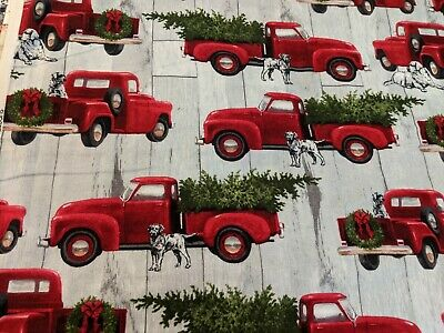 NEW RED TRUCK WITH CHRISTMAS TREE SOFT FLANNEL TO MAKE QUILT OR MASK .6 OF YD