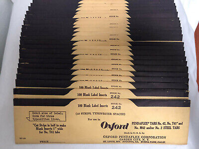 Oxford Pendaflex Tabs No. 42 Stock No. 242 100 Blank Label Inserts - Lot Of 20
