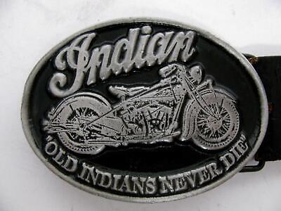 """INDIAN MOTORCYCLE BELT BUCKLE """"OLD INDIANS NEVER DIE"""" SILVER VTG MADE IN CANADA"""