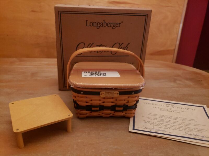 Longaberger J.W. Collection Miniature 2002-2003 Cake Basket Combo NEW IN BOX