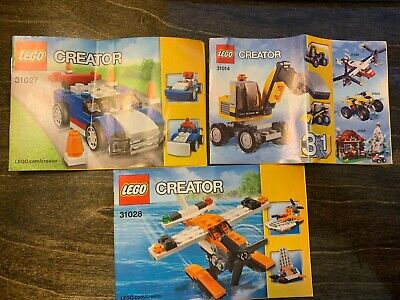 Lego Creator 3 in 1: Sea Plane 31028, Power Digger 31014, and Blue Car 31027