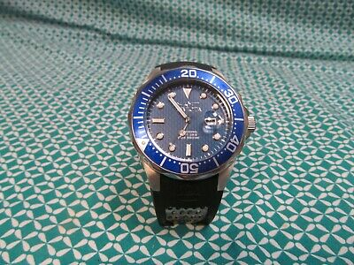 Invicta Grand Diver Blue Carbon Fiber Silver Case Watch ~ Needs Band