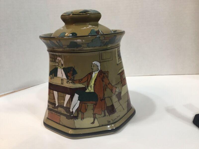 Antique Deldareware Buffalo Pottery Tobacco humidor 1909 Ye Lion Inn, H.P