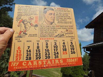 1953 Vintage Carstairs Blended Whiskey Advertising Baseball Calendar Board Wall