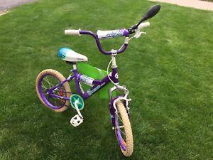 Girls purple bike with hand breaks.