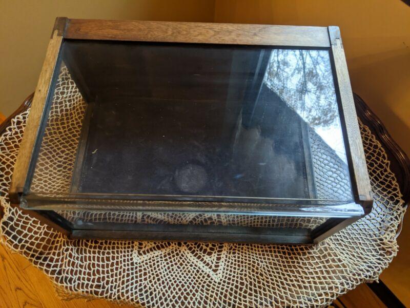 Vintage / Antique Oak Wood Sliding Glass Top Counter Display Case