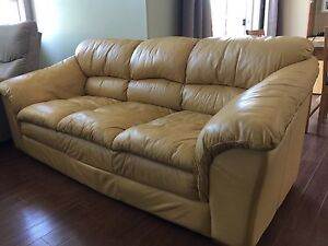Free Yellow Leather Couch - Its Heavy