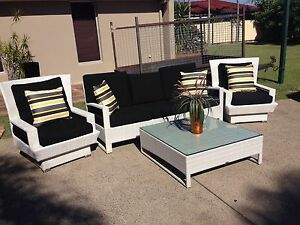 Modern White Wicker Outdoor Setting EC Broadbeach Waters Gold Coast City Preview