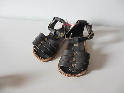 Puppenschuhe Leder Sandalen schwarz 11cm Sohlenlänge, MEINESZ by MAGU