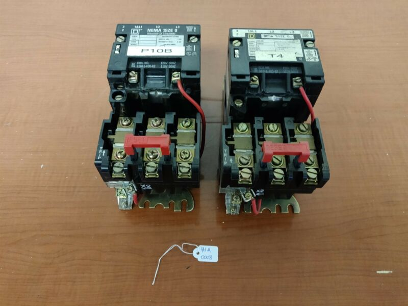 Lot of 2 - Square D Class 8536 SB02 Contactor, 110/120V Coil, w/ B 2.40 Heater