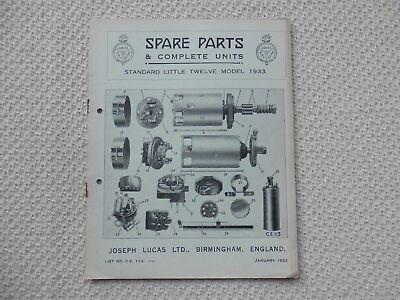 STANDARD LITTLE TWELVE 12 1933 LUCAS Parts List published January 1933