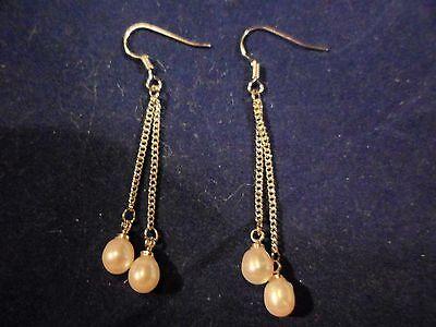 White Freshwater Pearl Dangle Earrings in Sterling Silver w/Shepherd Hook - Freshwater Pearl Shepherd Hook