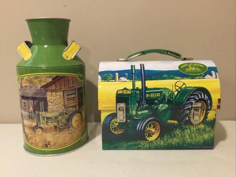 John Deere 2007 Tin Lunch Box  With John Deere Milk Can GREAT SHAPE