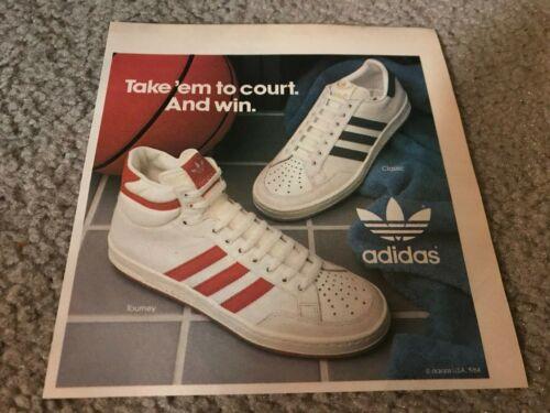 Vintage 1984 ADIDAS CLASSIC TOURNEY Basketball Shoes Poster Print Ad 1980s RARE
