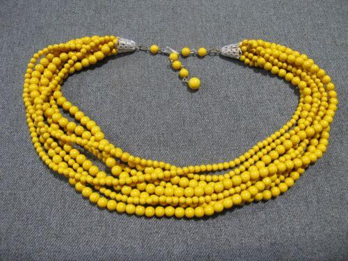 Vintage filigree clasp mustard color plastic 8 strands choker collar necklace