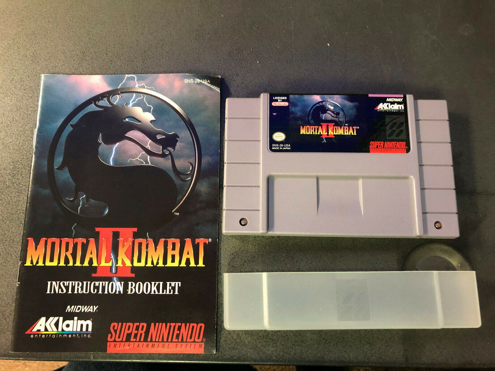 Mortal Kombat II MK2 Super Nintendo SNES, 1994 W/ Manual Authentic RARE Tested - $26.02