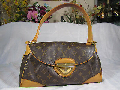 Authentic Louis Vuitton Brown Monogram Canvas BEVERLY MM Shoulder/Tote bag! Good