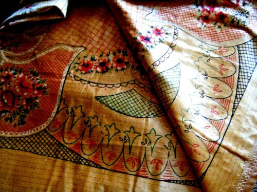 vtg Cotton & silk Tablecloth floral print metal effect bright yellow color