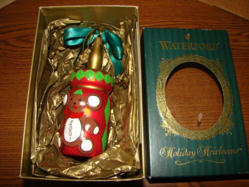 Waterford Babys First Bottle Glass Christmas Ornament with Box 2001 Ret. $55