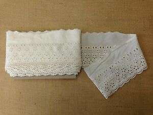 TEX EX 1172 ANTIQUE CREAM BRODERIE ANGLAISE LACE RIBBON BRIDAL DRESSMAKING CRAFT