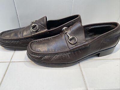 "Gucci ""vintage"" Mens Loafer Brown Silver-Tone Horsebit Hardware Size 10"