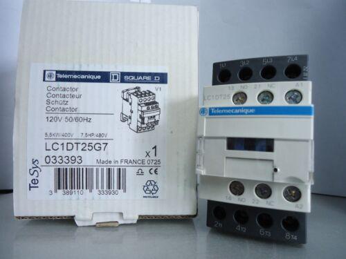 New Telemecanique Square D LC1DT25G7 Contactor 120V 50-60 Hz NIB