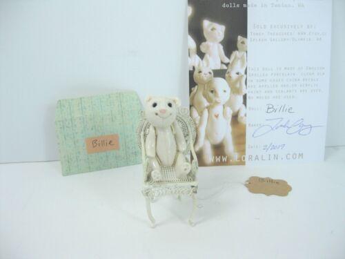 """Porcelain Tiny Teddy Bear doll """"Billie"""",  handmade includes vintage metal chair"""