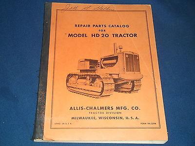 Allis Chalmers Hd20 Crawler Tractor Dozer Parts Book Manual