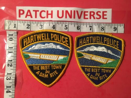 LOT OF 2 DIFFERENT HARTWELL GA POLICE  SHOULDER PATCHES  F075