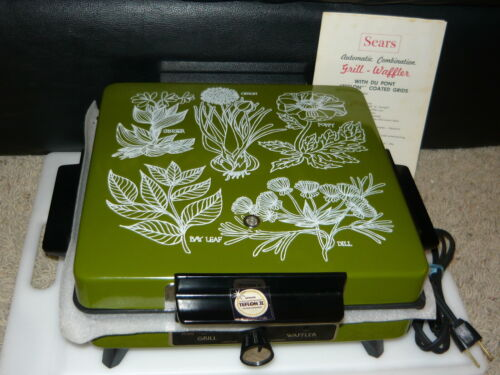 Vintage Sears Olive Green Grill Waffler Waffle Iron Tested Works Great Condition