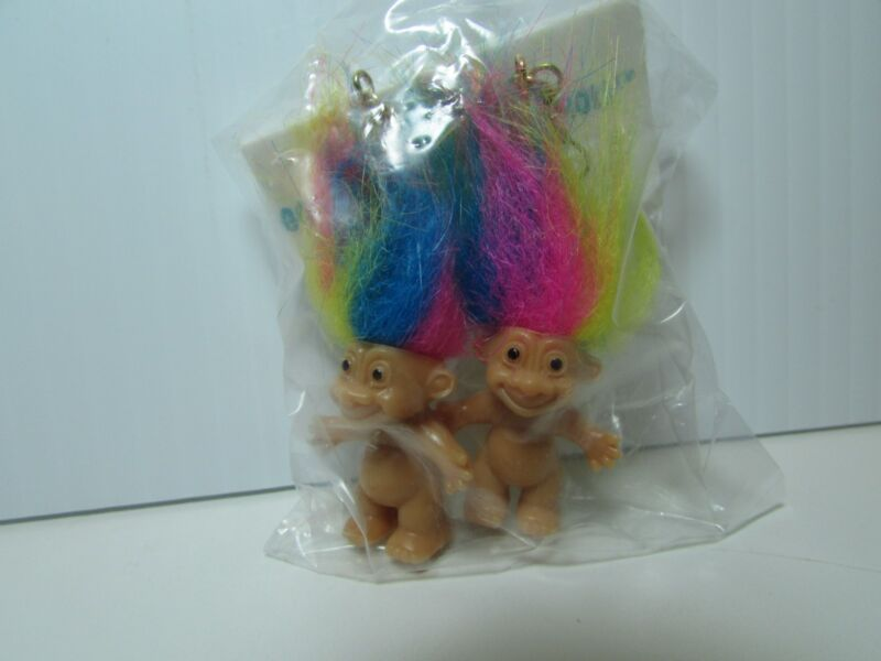 "GOOD LUCK RAINBOW HAIRED EARRINGS - 2"" Russ Troll Dolls - NEW IN PACKAGE"
