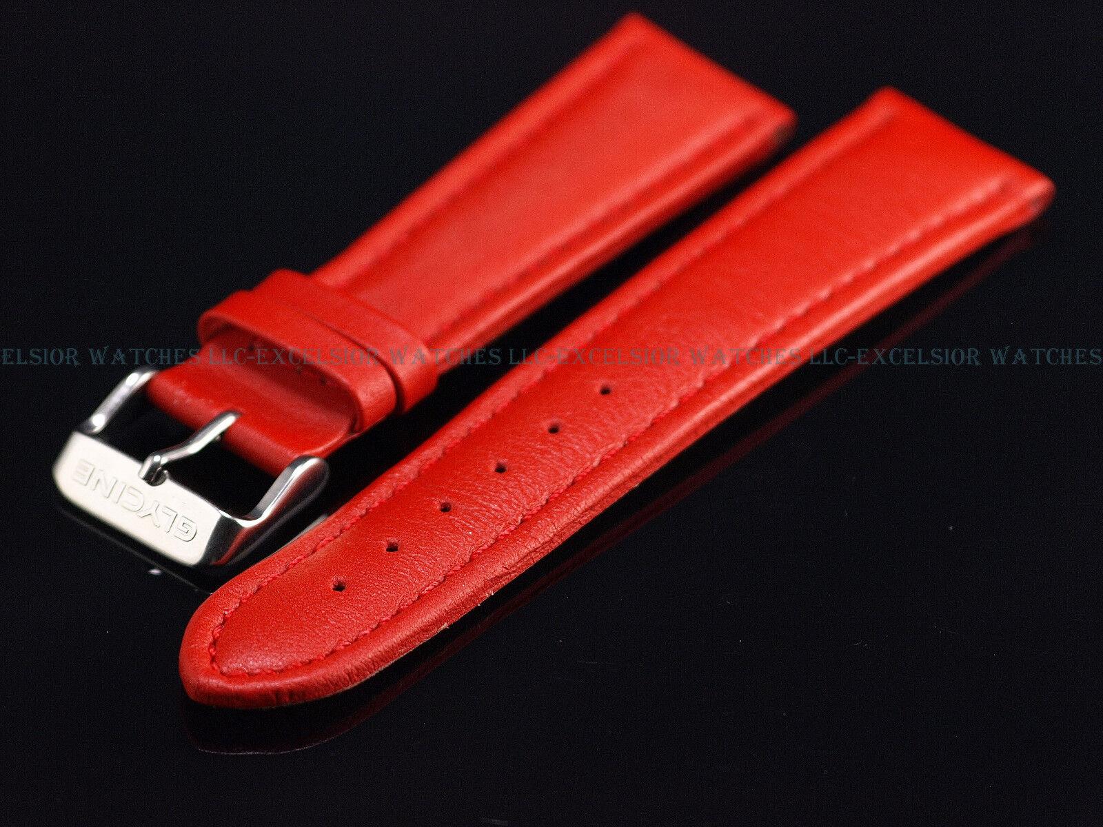 Glycine Leder Uhrenarmband 22MM Rot