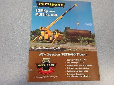 Rare Pettibone 20 Mkp Multikrane Sales Brochure
