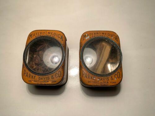 Antique Parke Davis & Co. Materia Medica Specimen Tins w/ Glass