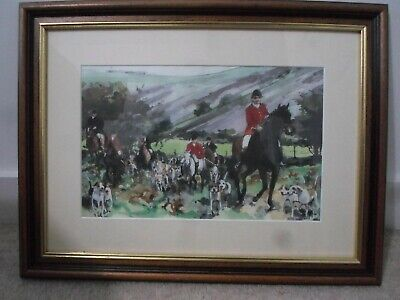 Framed water colour Welsh Horse and hounds hunting scene. Artist & age unknown