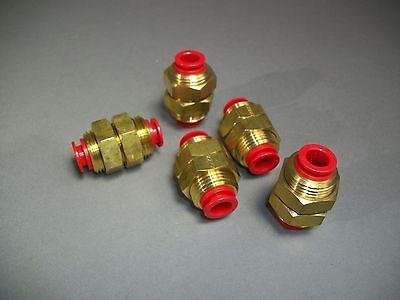 Lot Of 5 Smc Polybutylene Tubing Bulkhead Union 38 Tube Np Brass - Kq2e11-00