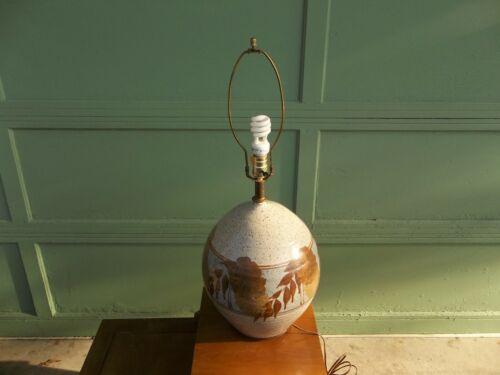 Vintage MCM Earth Tones Mid Century Studio Art Pottery Stoneware Table Lamp