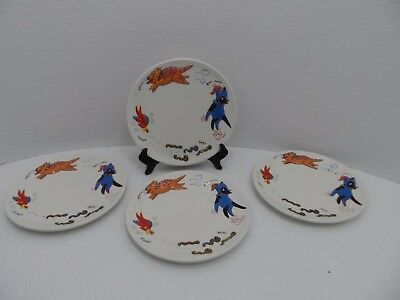 "Lot of 4 Studio Nova China Food Chain Worm Bird Cat Dog 8"" Salad/Bread Plate NWT"