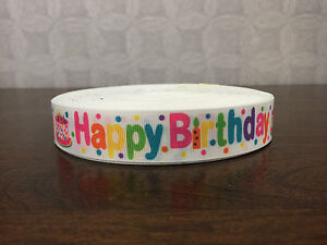 1m Happy Birthday Multi Coloured 22mm Grosgrain Ribbon, Cake, Craft