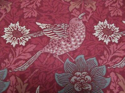 Morris Bird (William Morris Curtain Fabric 'BIRD & ANEMONE' 1.4 METRES  Red Clay 100% Cotton)