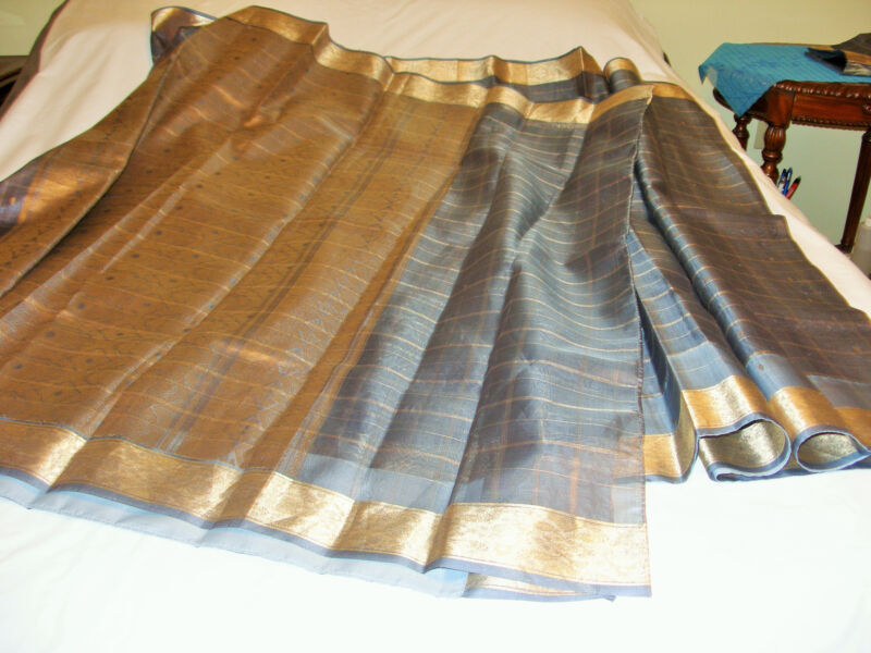 New silk saree W blouse Indian Pakistani Eid