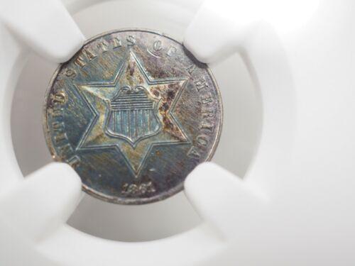 1861 Silver 3c piece, Civil War!  Unc Details NGC Holder # 0015